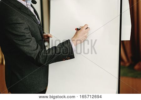 Elegant Speaker Lecturer Drawing Charts At White Board, At Meeting, Business Marketing Lecture Coach