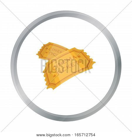 Ticket icon in cartoon style isolated on white background. Films and cinema symbol vector illustration.