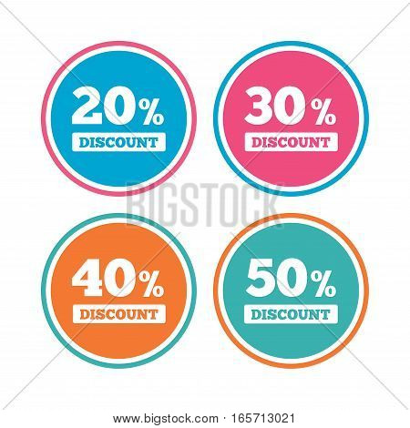 Sale discount icons. Special offer price signs. 20, 30, 40 and 50 percent off reduction symbols. Colored circle buttons. Vector
