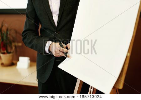 Elegant Speaker Lecturer Hands Holding Marker And Writing At Empty White Board At Business Meeting ,