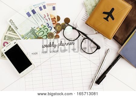 Passport Money Phone With Empty Screen Weekly Planner Map And Glasses On White Background,  Visa Or