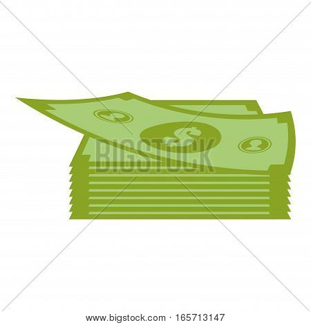 money bills or wad of cash over white background. colorful design. vector illustration