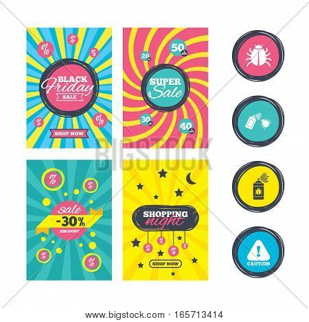 Sale website banner templates. Bug disinfection icons. Caution attention symbol. Insect fumigation spray sign. Ads promotional material. Vector