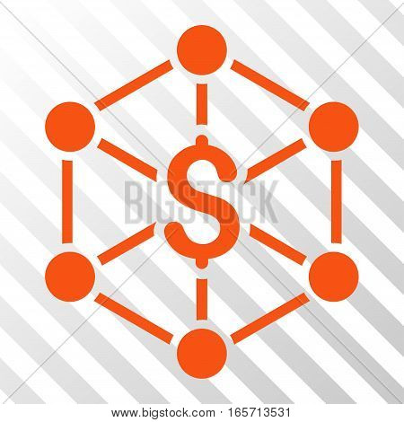 Orange Bank Network toolbar icon. Vector pictograph style is a flat symbol on diagonally hatched transparent background.
