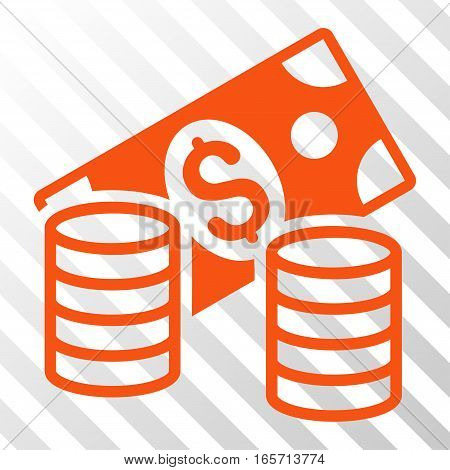 Orange Cash interface pictogram. Vector pictograph style is a flat symbol on diagonally hatched transparent background.