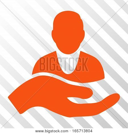 Orange Client Care Hand interface pictogram. Vector pictograph style is a flat symbol on diagonally hatched transparent background.