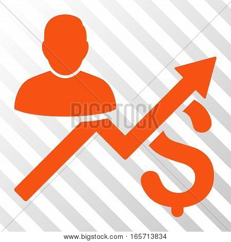 Orange Client Sales Chart interface pictogram. Vector pictogram style is a flat symbol on diagonally hatched transparent background.