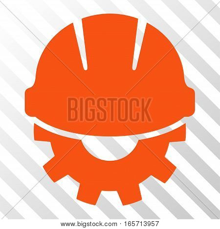 Orange Development toolbar pictogram. Vector pictogram style is a flat symbol on diagonally hatched transparent background.