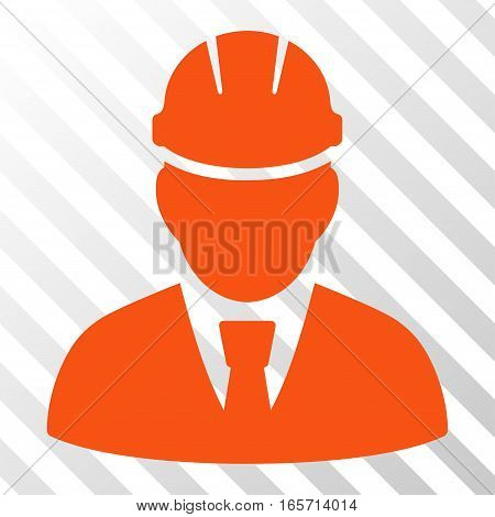 Orange Engineer interface toolbar icon. Vector pictogram style is a flat symbol on diagonal hatch transparent background.