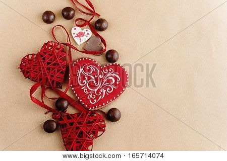 Unique Stylish Red Hearts And Cookies On Craft Background, Valentines Day Concept Gift