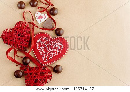 Unique Stylish Red Hearts And Cookies On Craft Background, Valentines Day Concept Card