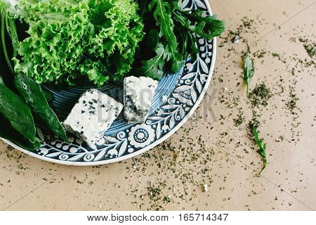 Delicious Fresh Salad Arugula Spinach And Gorgonzola Cheese On Amazing Plate, Space For Text