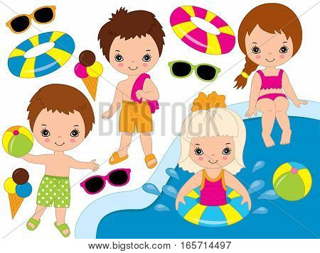 Vector little kids pool party set with ice cream and sun glasses