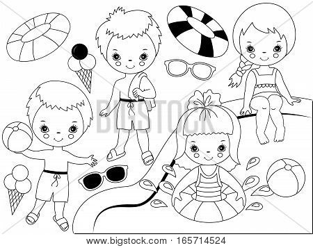 Vector black and white kids pool party set