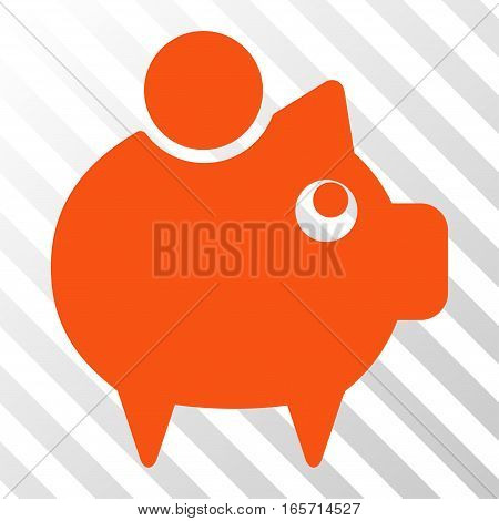 Orange Piggy Bank toolbar pictogram. Vector pictogram style is a flat symbol on diagonal hatch transparent background.