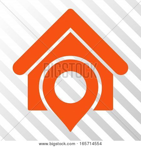 Orange Realty Location toolbar pictogram. Vector pictogram style is a flat symbol on diagonally hatched transparent background.
