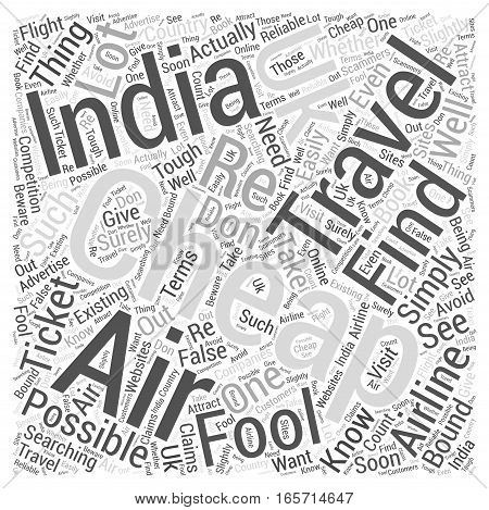 cheap air travel to india from uk Word Cloud Concept