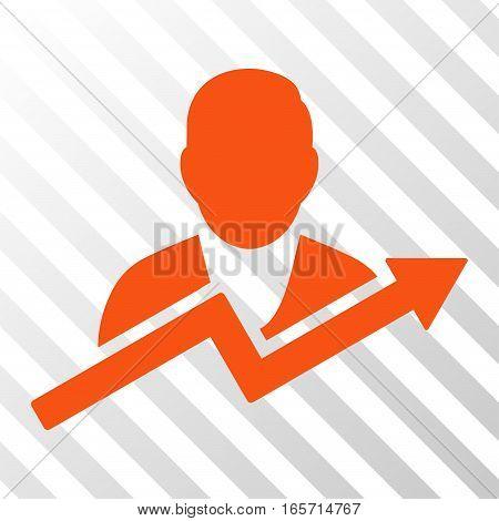 Orange User Trend interface toolbar pictogram. Vector pictogram style is a flat symbol on diagonal hatch transparent background.