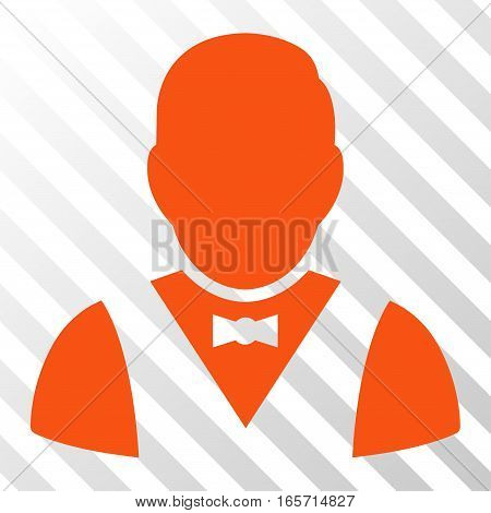 Orange Waiter interface toolbar icon. Vector pictograph style is a flat symbol on diagonal hatch transparent background.