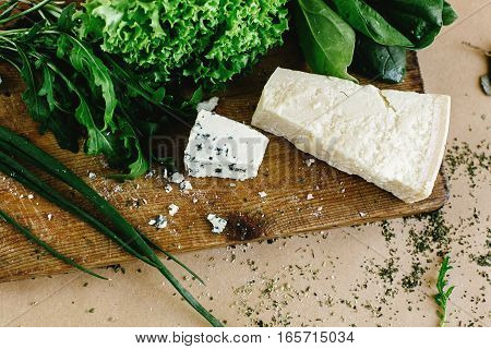 Delicious Fresh Salad Arugula Spinach And Parmezan And Gorgonzola Cheese On Wooden Cooking Board, To