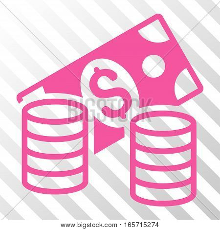 Pink Cash interface toolbar pictogram. Vector pictogram style is a flat symbol on diagonally hatched transparent background.