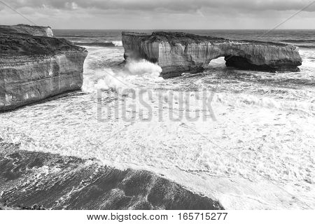 View Of The Iconic London Bridge In Victoria. Black And White.