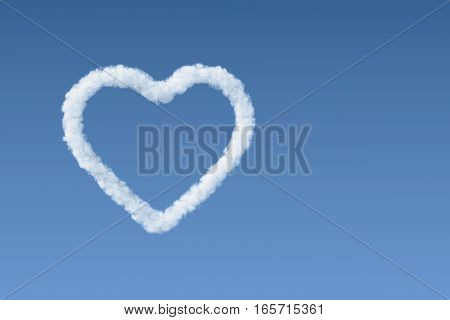 White cloud heart shape in the blue sky, perfect for Valentines day.