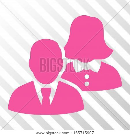 Pink People toolbar pictogram. Vector pictogram style is a flat symbol on diagonally hatched transparent background.