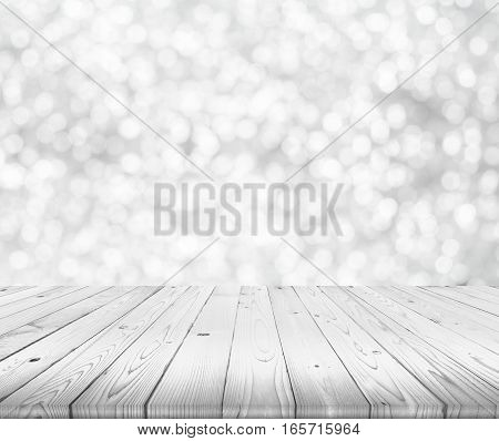 wood table top on blurred of white and grey bokeh background