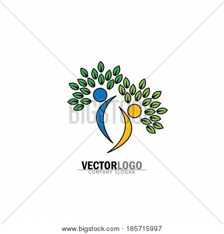 friendship, bonding, together organic people logo, people logo, tree logo, vector logo template. healthy person, people tree, eco and bio icon, human character icon, nature care symbol