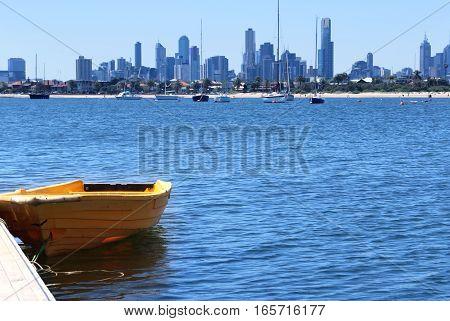 St Kilda Pier with Melbourne city Australia background