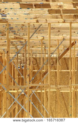 New framing construction of residential house vertical image