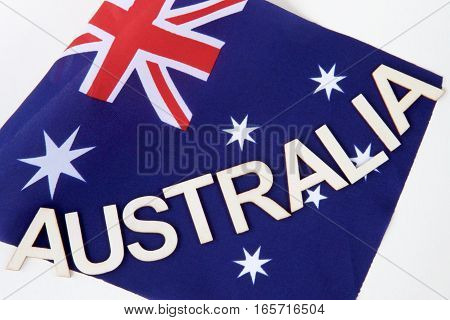 Australian signage on a flag in preparation for Australia Day.