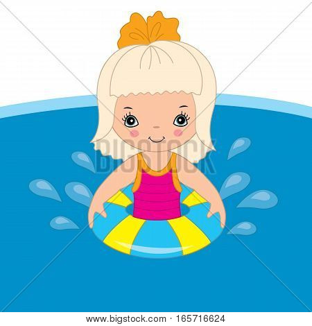 Vector little girl is swimming in the pool