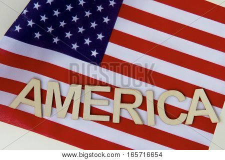 American letters on the flag of the United States of America.