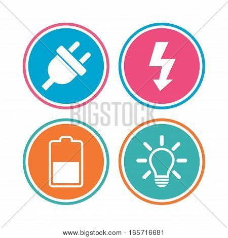 Electric plug icon. Light lamp and battery half symbols. Low electricity and idea signs. Colored circle buttons. Vector