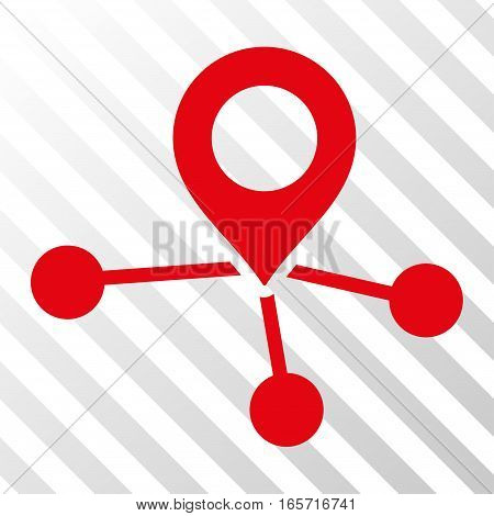 Red Locations interface pictogram. Vector pictogram style is a flat symbol on diagonal hatch transparent background.