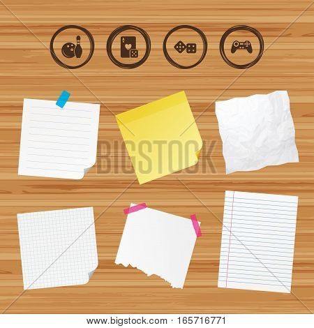 Business paper banners with notes. Bowling and Casino icons. Video game joystick and playing card with dice symbols. Entertainment signs. Sticky colorful tape. Vector