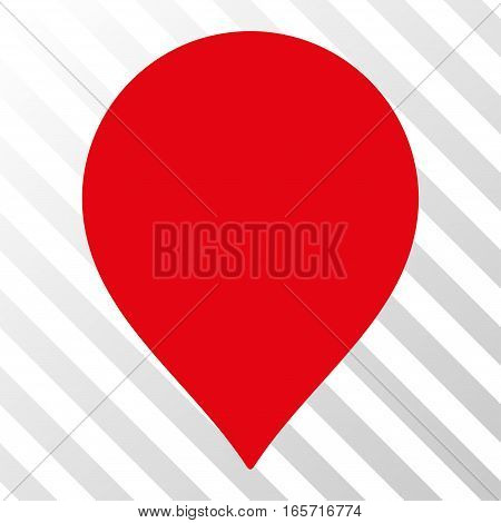 Red Map Marker toolbar icon. Vector pictograph style is a flat symbol on diagonally hatched transparent background.