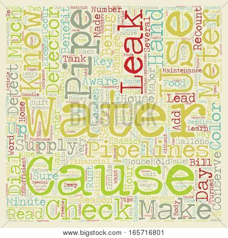 Check For Leaks Conserve Water And Save Money text background wordcloud concept