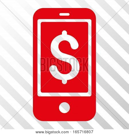 Red Mobile Balance interface toolbar pictogram. Vector pictograph style is a flat symbol on diagonally hatched transparent background.