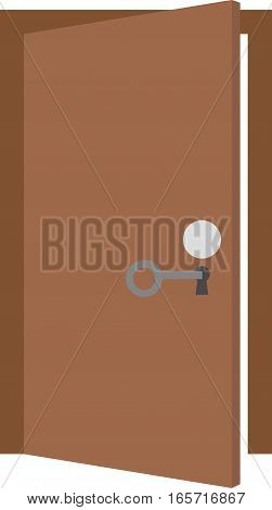 Vector illustration of grey key unlocking brown door.