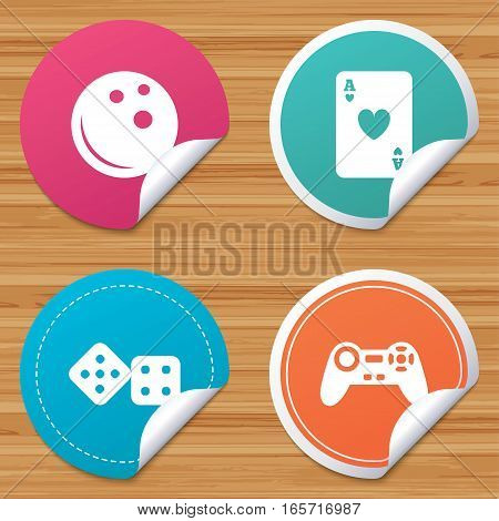 Round stickers or website banners. Bowling and Casino icons. Video game joystick and playing card with dice symbols. Entertainment signs. Circle badges with bended corner. Vector