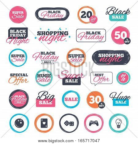Sale shopping stickers and banners. Bowling and Casino icons. Video game joystick and playing card with dice symbols. Entertainment signs. Website badges. Black friday. Vector