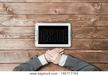 Close up of female hands and tablet pc computer