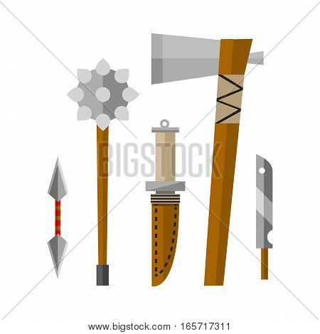 Knife weapon dangerous collection. Vector illustration of sword spear edged set. Combat andbonder bayonet cold protection or attack steel arms.