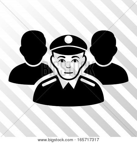 Black Army Team toolbar pictogram. Vector pictograph style is a flat symbol on diagonal hatch transparent background.