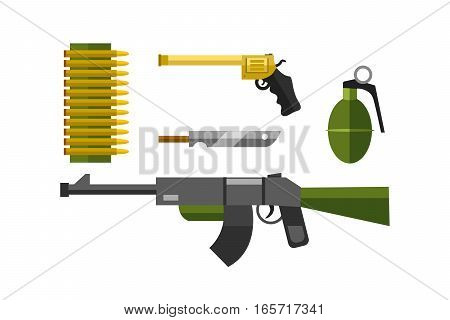Flat weapons vector format. Army graphic gun war symbols illustration. Sniper rifle crime machine and military automatic shotgun. Bullet ammunition protection tool.