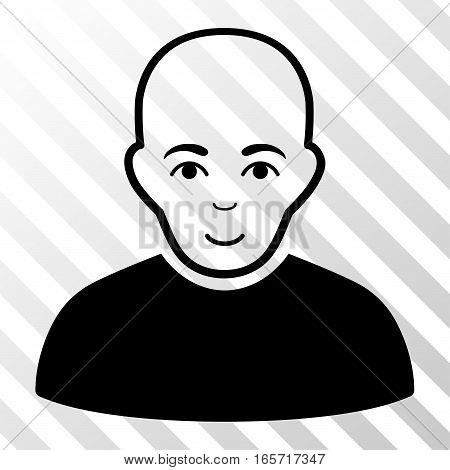 Black Bald Man toolbar icon. Vector pictograph style is a flat symbol on diagonally hatched transparent background.