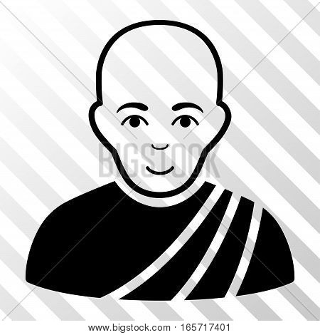 Black Buddhist Monk interface icon. Vector pictogram style is a flat symbol on diagonal hatch transparent background.